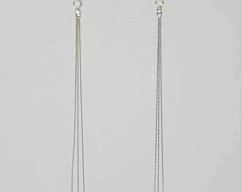 Sterling Silver 925 Diamond Cut Chains LONG DANGLE EARRINGS. Real Solid Silver. Handcrafted. Free Shipping Worldwide.