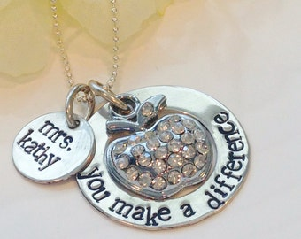 Teachers Necklace -Hand Stamped -Personalized Jewelry- Sterling Silvler-Teacher Gift-Teacher Necklace-Teach-You make a difference-