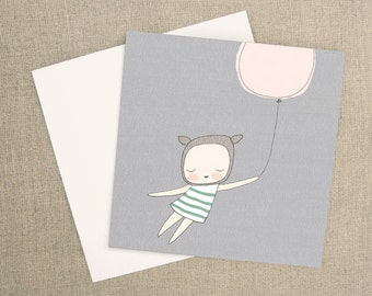 Square Greeting Card - French Bear Girl Flying With Pink Balloon - Gray background
