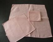 Peachy Pink Linen Tea Tray Cloth Napkins English Mid Century Linens