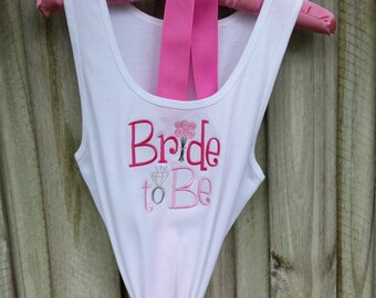 TankTop Bride Embroidered Custom Colors Bride to Be Photo Shoot Shower Gift