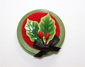 Christmas Holly Round Button Brooch Tack Pin
