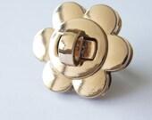dia. 1.5 inch golden flower twist-locks Purse Flip Locks puse locks turn lock handbag lock handbag making supplies
