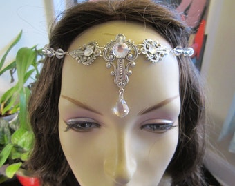 Swarovski Crystal Circlet of the Ice Priestess Elven Bridal Celtic Druid LARP Cosplay