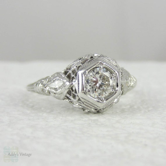 Art Deco Filigree Diamond Engagement Ring in White Gold