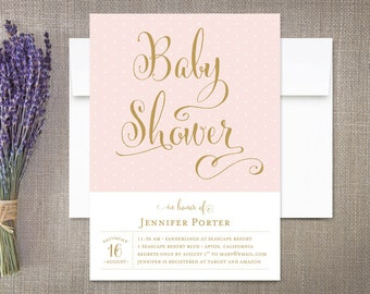 Baby Shower Invitation Girl Modern Calligraphy