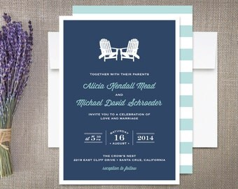 Adirondack Beach Chairs Wedding Invitations