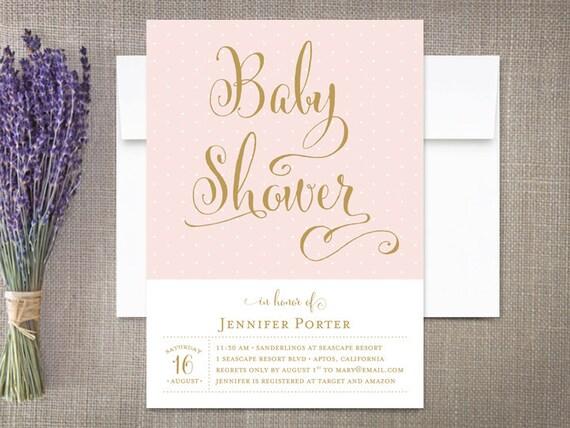 Baby shower invitation girl modern calligraphy