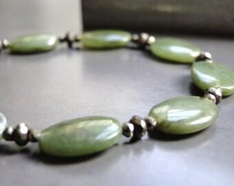 SALE Luxe Jade Jewelry, Gemstone Bracelet, Jade Bracelet Sterling Silver, Jade Stone Bracelet, Autumn Accessories, Holiday Gift