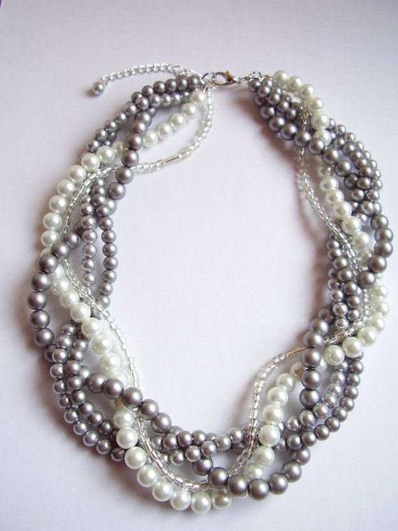 Statement pearl necklace custom order necklaces braided twisted chunky bridesmaid bridal