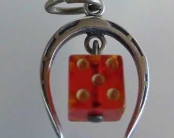 LUCKY HORSESHOE and Dice Sterling Silver Charm