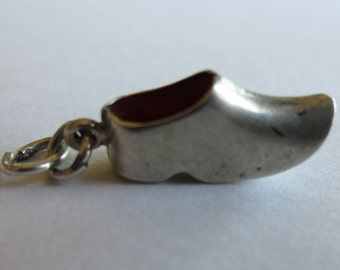 DUTCH CLOG SHOE Sterling Silver Charm with Red Enamel Inside