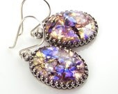 Golden Purple Earrings Topaz Amethyst Opal Czech Glass Earrings Vintage Style Antique Silver Earrings Iridescent Earrings - DorotaJewelry