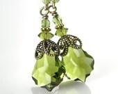 Olive Green Earrings Antique Gold Brass Swarovski Forest Leaf Green Crystal Dangle Drop Earrings