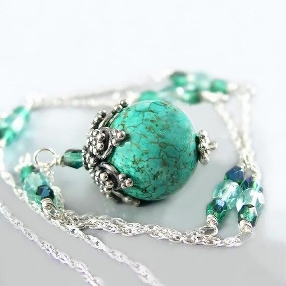 Natural Turquoise Necklace Sterling Silver Necklace Blue Stone Pendant Necklace Aqua Blue Crystal Necklace