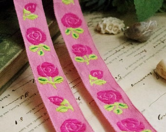 Two yards of pink bottom with big rose embroidery lace