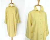 Mod 60s coat - 60s coat  - yellow coat -womens outerwear - wool coat - midi -medium large