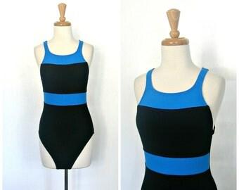 80s swimsuit - 90s swimwear - maillot - Jag Swimsuit - halter swimsuit - bathing suit - one piece swimsuit - medium