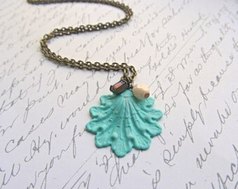 Sea Breeze Shell necklace, Hand Painted Shell necklace, Beach necklace