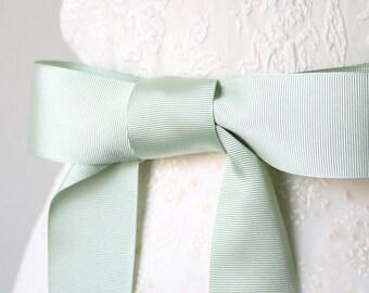 Sea Foam Green Wedding Sash, Seaform Sash, Mint Bridal Sash, Bridesmaid Sash, Grosgrain Ribbon Sash, 1.5 Inches Wide Belt
