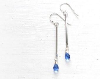 Delicate Long Blue Earrings, Cornflower Blue Quartz Wire Wrapped in Sterling Silver Dangles from Silver Bars - Rain Fall