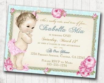 1st Birthday Invitation for Girl - Shabby Chic Birthday - Floral - Antique - Vintage Roses - DIY Printable