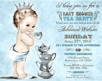 Tea Party Baby Shower Invitation For Boy - Prince - Crown - Blue - or DIY Printable