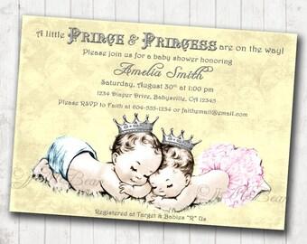 Twins Baby Shower Invitation boy girl twins - Vintage - princess and prince - DIY Printable