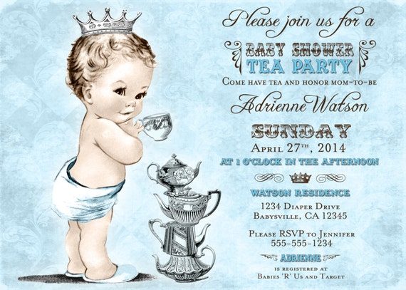tea party baby shower invitation for boy prince crown  etsy, Baby shower