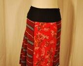 Recycled tee shirt skirt  small with rayon yoga style waistband S0036