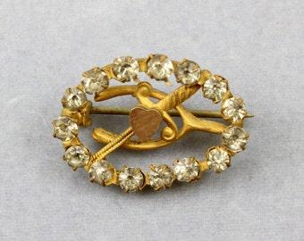 Antique Victorian Gold Filled Paste Glass Stones Pin Brooch Heart-Sword-Wishbone Motifs