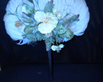 Feather Fan with Veil and velvet leaves adorned with yellow flowers, Designer made (FFs5105)