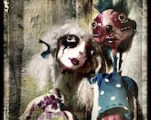 Strange Love Photo, goth wall art, scary doll halloween decor art Print, 5x5 8x8 10x10 13x13 art doll Photography