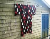 Silk Crepe Kimono - Japan - Red & Gray Diamonds on Black
