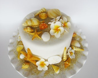 edible sea shells with plumerias set of 34 shells plus 10 flowers