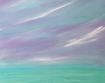 SALE caribbean landscape painting, aqua, lavender, and teal landscape, framed original painting of caribbean, FREE SHIPPING u.s.