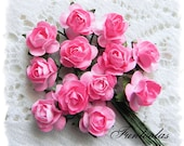 Paper Roses 1/2 inch Pink Set of 24