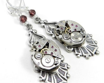 Steampunk Jewelry Earrings Edwardian Watch Mechanical Movement Clockwork Silver & Burgundy Crystal, Steampunk Jewelry by compassrosedesign