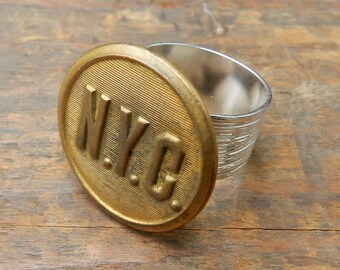 Steampunk Ring, NEW YORK Central Vintage Railroad Uniform Button Ring, Wide Silver Band, Steampunk Jewelry by Compass Rose Design