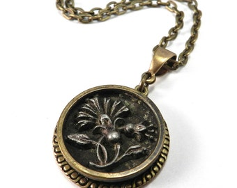 Steampunk Victorian Button Necklace - Antique Blossom Button, Victorian Steampunk Jewelry by Compass Rose Design