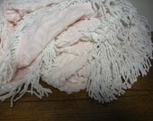 "vintage Hoffman pink daisy chenille bedspread 95"" x 105"""