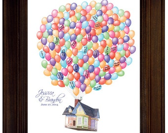 Custom Wedding Guest Book Alternative Disney Pixar Up House Wedding Guestbook Movie Up Flying House Balloons Custom Wedding Gift Print