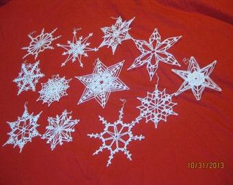 12 handmade Crocheted Snowflakes lot 7a - Christmas NEW