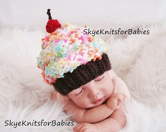 Newborn Photo Prop Boy Girl, Knit Baby Cupcake Hat, Knit Baby Hat, Newborn Cupcake Hat, Size Preemie - Toddler, Newborn Photo Prop