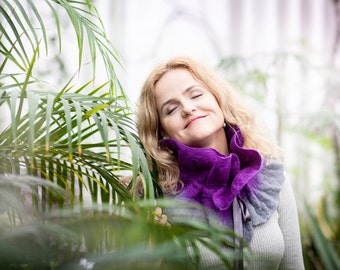 Felted wool scarf -  winter fashion scarf - lilac gray color wool - Original woman gift - Ready to shipping