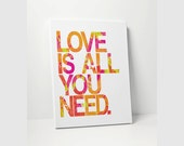 CANVAS PRINT: Love Is All You Need Beatles Song Lyrics On Canvas Wall Decor