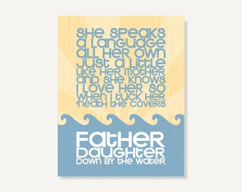 Fathers Day Wall Art - Father Daughter Baby Gift Nursery Art Print (Blue & Yellow) Typographic Poster