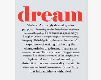Inspirational Art - Dictionary Definition of Dream - Graduation Gift Black Red Typographic Print