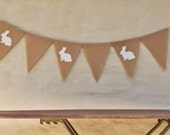BUNNIES by THE METRE Hessian Burlap Easter Banner Nursery Baby Children Celebration Party Bunting Decoration Birthday Baby shower