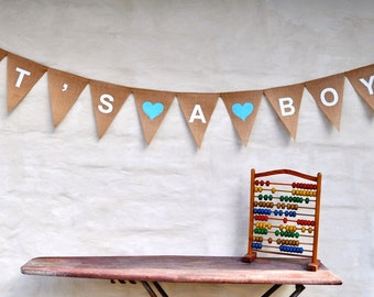 IT'S A BOY Blue Hessian Nursery Baby Shower  Maternity Children Celebration Party Banner Bunting Decoration